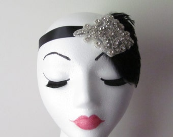 Flapper Headband /   Feather Headpiece / 1920's headpiece