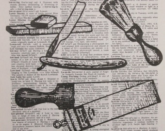 Barber supplies Authentic Dictionary/Encyclopedia Page Print~cosmetology ~ hair dresser ~ gift ~ barber shop Decor ~  Hair dresser station