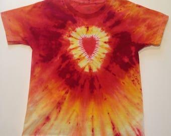 """Kids' Tie-Dye T-shirt - Size S (6-8) 100% cotton -  """"Fiery Heart"""" - Red, Yellow, Orange"""