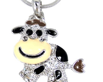 Happy Cow Austrian Crystal Pendant Snake Silver Chain necklace