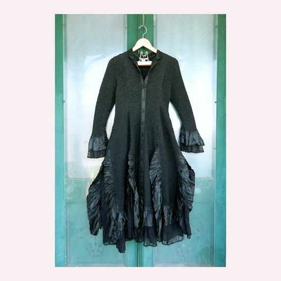 Witchy Goth Dress Coat -L- Scrunch Satin and Lace