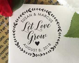 Let Love Grow Stamp, Wedding Favor Stamp, Self Inking Stamp, Wood Stamp, Custom Wedding Stamp, Personalized Stamp, Floral Wreath