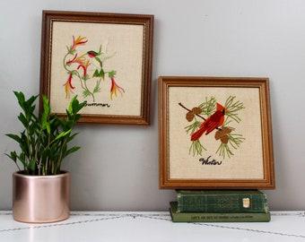 Embroidered Bird Set- Winter and Summer