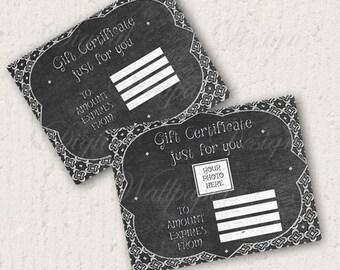 Chalkboard Gift Certificate,Gift Card,Printable Gift Certificate,Digital file,Digital Download,Instant Download,Chalkboard