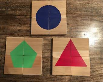 Wooden Shape Puzzles- Set of 3