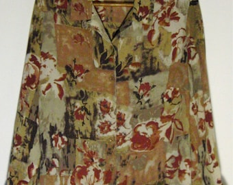 Vintage Floral Blouse Autumn Flowers Shirt