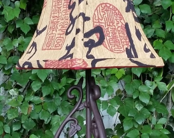 Toile and scenic shades verolampshades lampshade brown red black square bell asian ming aloadofball Image collections
