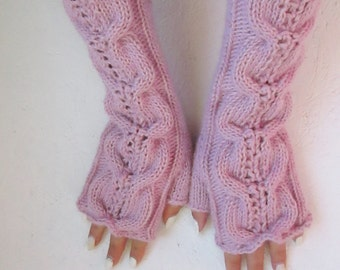 ready to ship ! Fingerless gloves Knitted pink Fingerless Half Gloves with Cable women fingerless valentine's  Arm Warmers winter accessory