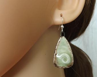 Green fossil earrings, ceramic earrings, ammonite earrings, animal earrings, ceramic jewellery, fossil jewellery, green jewellery, boho