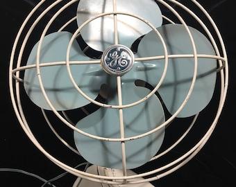 Vintage fan, vintage General Electric fan, blue and white fan