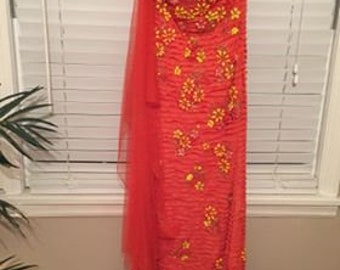 Orange and Yellow formal gown