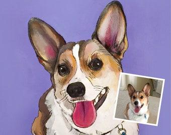 Acrylic pet portrait, Custom dog Painting, pet portrait on carboard, Dog Portrait, Acrylic on Paper,Pet Home Decor