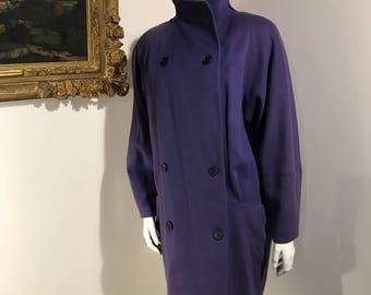 Saks Fifth Avenue Purple 100% Merino Wool Womens Pea Pocketed Coat - Size 4 Small