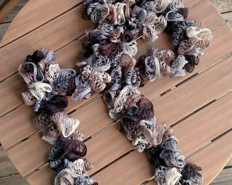 Handmade Neutral Crochet Ruffle Scarf with Sparkle, Ready to Ship Tan, Grey, and Brown Sparkle Ruffle Scarf