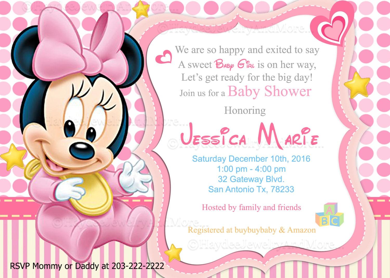 Disney Baby Minnie Baby Shower Invitations-Baby Sower