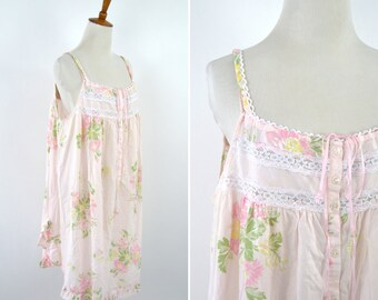 Vintage 1990's Pink Floral Spring Mu Mu House Dress - Button Up Nightie  Shabby Chic Frock  Day Dress - Mori Girl - Plus Size 1X