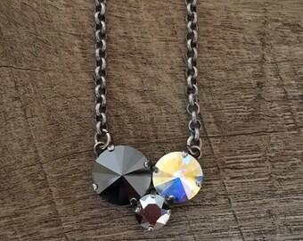 Swarovksi Crystal Modern Shine Three Tri Stone Necklace