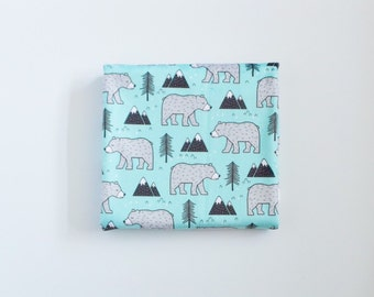 Baby Toddler Modern Fitted Minky Crib Sheet - Bears, Mountains and Trees on Aqua Blue