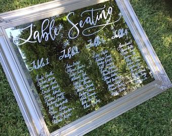 Wedding Mirror Sign, Wedding Seating Chart, Table Seating Plan, Wedding Signs, Mirror Signage, Elegant wedding signage