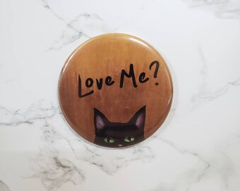 """Black Cat 2"""" Magnet, Rescued Cat Magnet, Black Panther Cat Magnet, Love Me Magnet, Cat Magnet"""