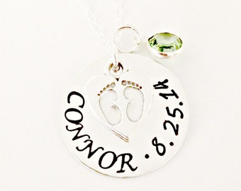 Personalized Mommy Necklace - Custom Hand Stamped Name and Date Disc - Sterling Silver 'Tiny Footprints' Heart Charm & Swarovski Birthstone