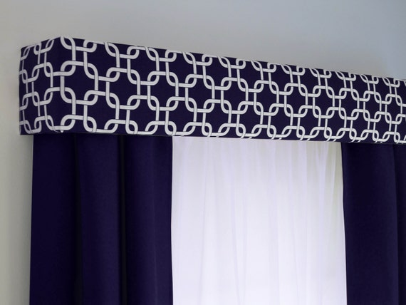 valance p bay print cotton navy curtains blend window blue curtainswithout linen without linencotton plaid