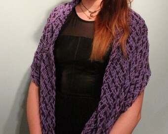 Shawl / wrap / stole / scarf, hand woven pure ultra soft merino wool, mauve/lavender & damson