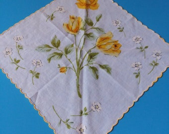 Vintage Handkerchief White  Yellow Scalloped Edges Yellow Rose White Daisies Gifts for her Hankie
