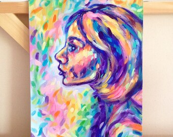 Rainbow Thoughts, original 9x12 acrylic painting of female