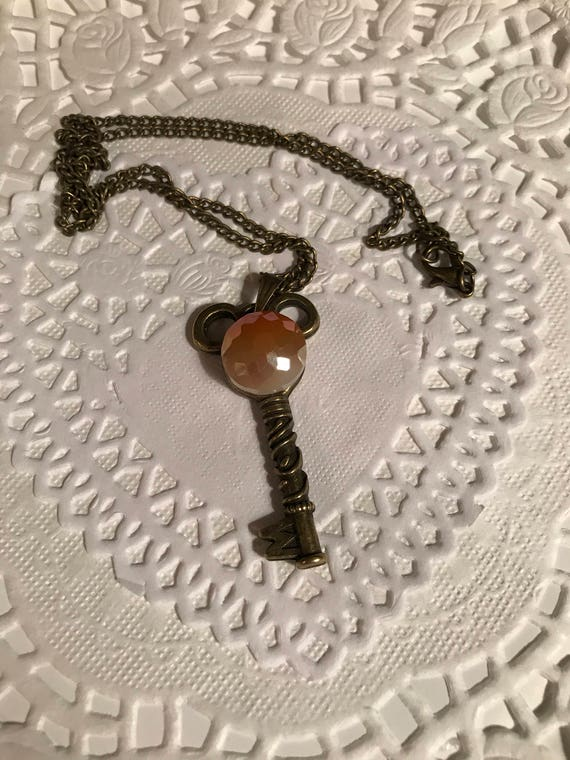 Mouse Ears Key to the Kingdom Necklace Steam Punk Jewelry Hidden Mouse Faceted Faux Amber