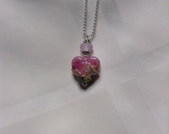 MOTHER'S DAY GIFT!  Beachy Pink Swirls Heart Lampwork Bead Pendant Necklace