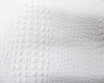 "Leather 12""x12"" ALLIGATOR / Crocodile MATTE White embossed Cowhide 2.5-2.75oz/1-1.1 mm PeggySueAlso™ E2860-04"