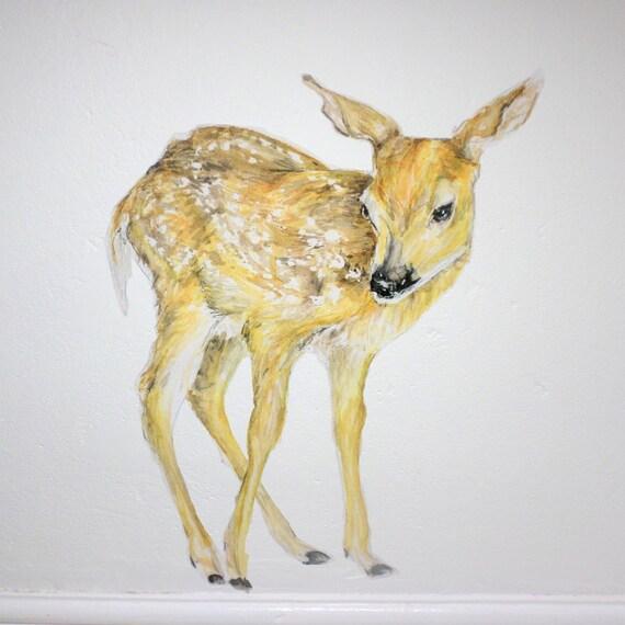 Fawn wall decal deer decor fawn wall sticker woodland wall