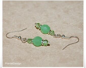 Earrings dream of green 10 mm Czech faceted beads Elegant Ladies earrings