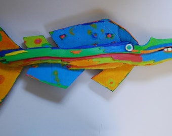 Painted Recycled Wood Fish Art Ready to Hang in any Room