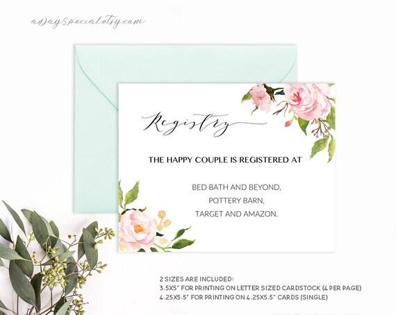 printable wedding registry card pink peony floral template