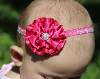 Baby Headbands and Bows - Pink Glitter Baby Bow -Pink Baby Headband -  Pink Baby Photo Prop - Baby Hairbows - Newborn Headband - Baby Gifts