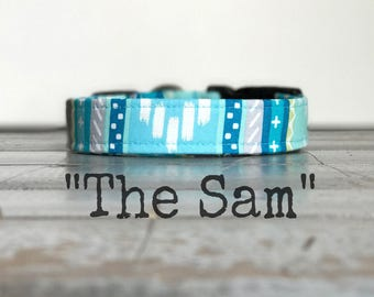 DOG COLLAR, The SaM, Aztec, Aqua,  Turquoise, Cute Dog Collars, Dog Collar for Boys, Dog Collars for Girls