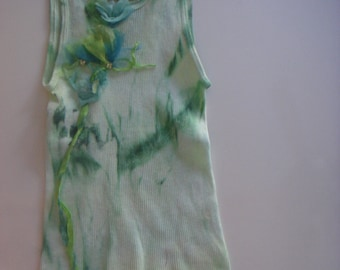 green & turquoise  tones on this hand dyed and silk embellished tee. Girl's medium