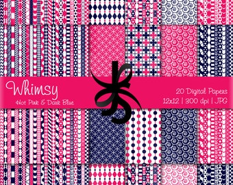 Digital Scrapbook Papers-Dark Blue-Hot Pink-Whimsical Patterns-Whimsy-Patchwork-Preppy-Backgrounds-Cards-Crafts-Instant Download Clip Art