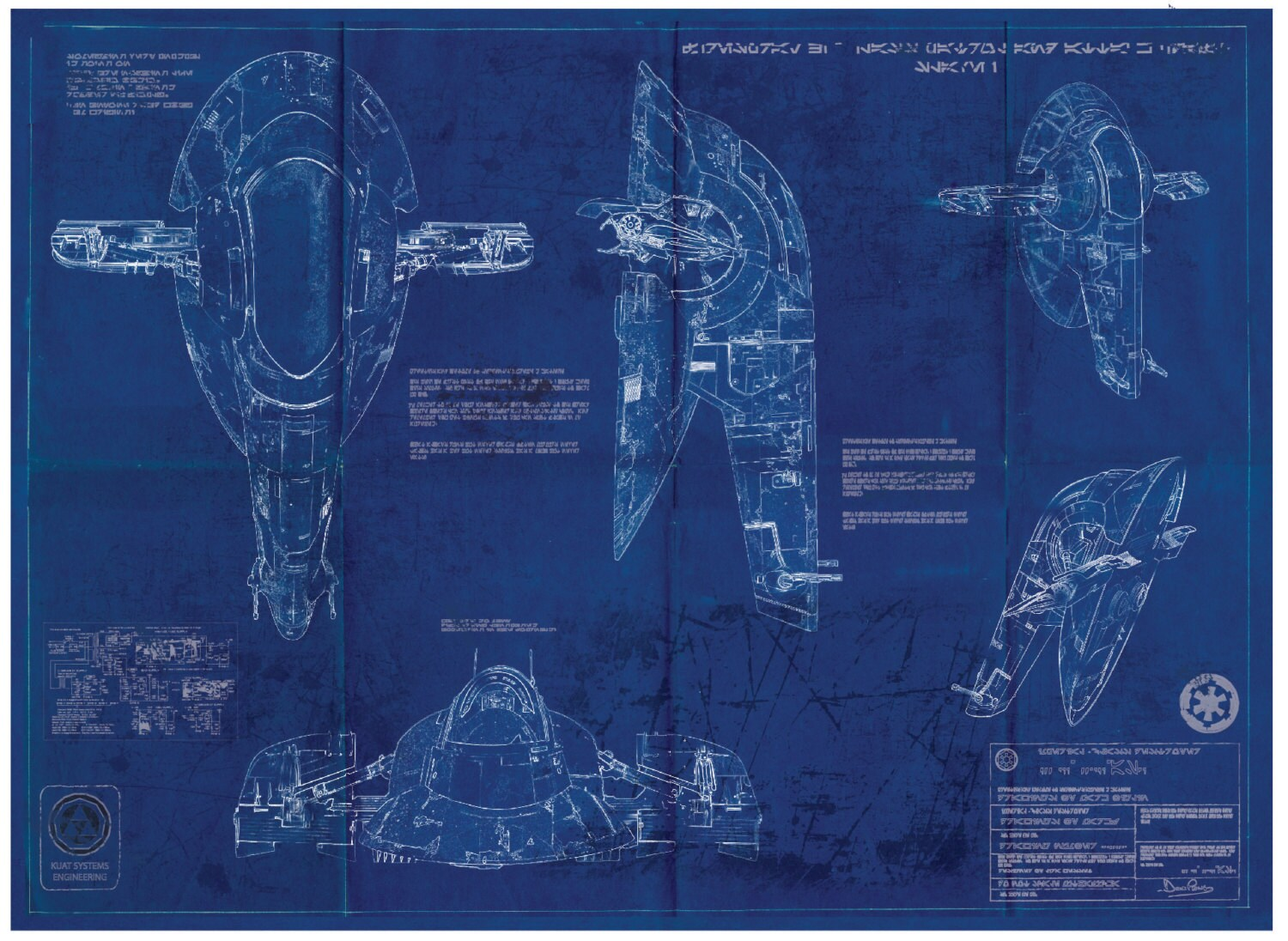 Slave 1 boba fett star wars poster blueprint a2 420mm594 zoom malvernweather Gallery