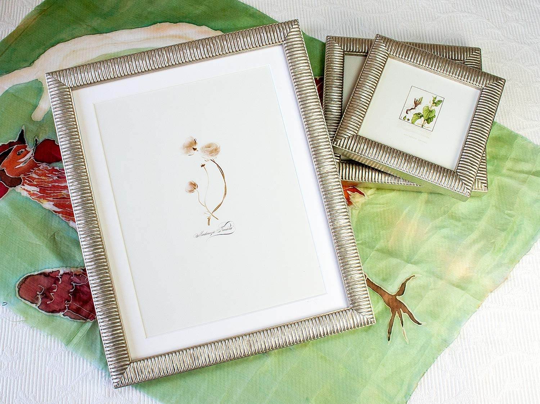 8x10 inch Narrow Silver Ribbed Photo Frame for Wedding/Desktop ...