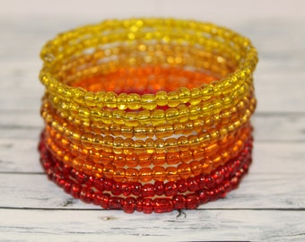 Fire - transparent red, orange and yellow glass beads memory wire bracelet
