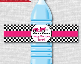 Pink Race Car Party Water Bottle Labels - Girl Race Car Birthday - Weatherproof Water Bottle Labels - Digital or Handcrafted - FREE SHIPPING