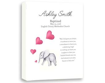 Newborn Baby Girl Art, Baby Elephant Decor, Art For Kids, Christening Day Art, Dedication Gift