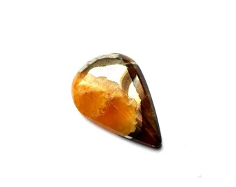 Simbircite with silver pyrite natural stone cabochon  26 x 17 x 5 mm