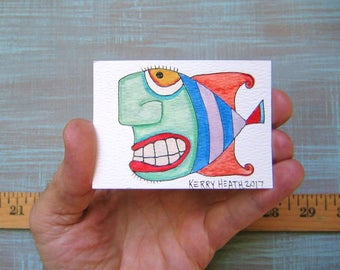 Fish-J53, Original ACEO Watercolor, Art Trading Card, Miniature Painting, by Fig Jam Studio