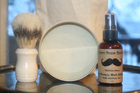 100% Natural Men's Shave Kit-made with Organic ingredients-Rosemary Mint essential oils cold process shave soap