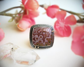 Fits Size 7 1/4 - Spring Blossom Ring - Ocean Jasper Statement Ring with 14K Gold - Sterling Silver Ring - Pink Stone Silversmith Ring