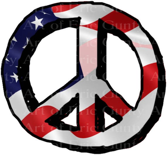 Patriotic Hippie Peace Sign Birthday - Edible Cake and Cupcake Topper For Birthday's and Parties! - D22966